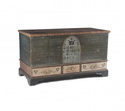 Poplar Green Paint Decorated Blanket Chest
