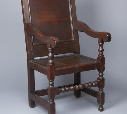 Very Rare Walnut Wm and Mary Wainscot Arm Chair