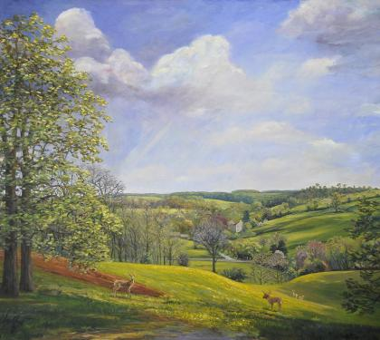 "Oil on Canvas Entitled ""Green Valley"" by Richard Chalfant"