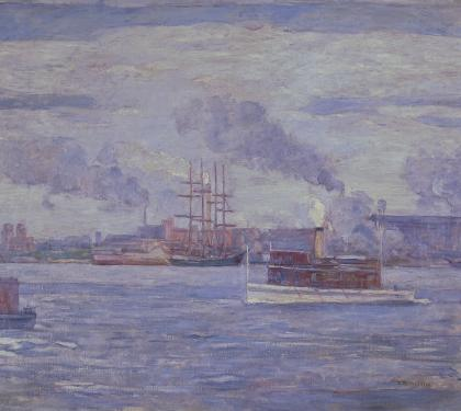 Harbor Scene By Henry McCarter