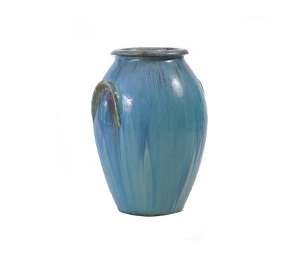 Large Galloway Glazed Urn with Excellent Verdigris Patina