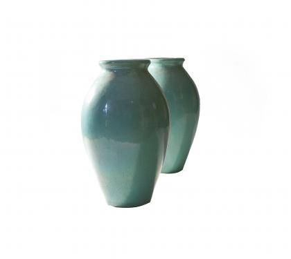 Pair of Galloway Glazed Urns with Excellent Verdigris Patina