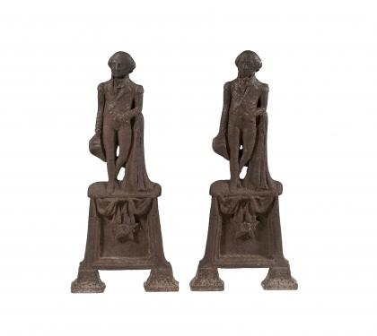 Pair of Cast Iron George Washington Andirons