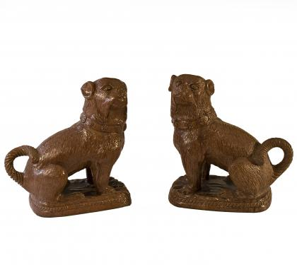 Pair of Redware French Bull Dogs (SOLD)