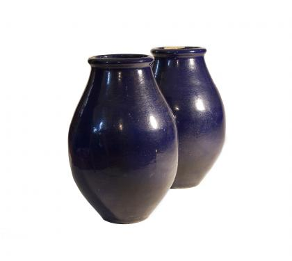 Pair of Galloway Glazed Urns with Excellent Indigo Patina