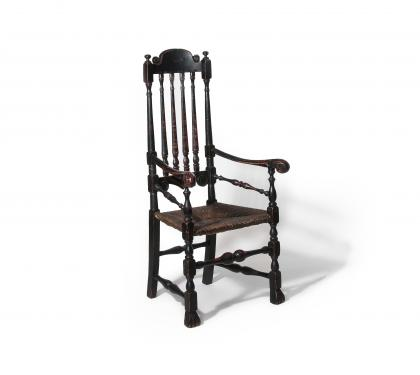Black Painted Maple Bannister Back Armchair