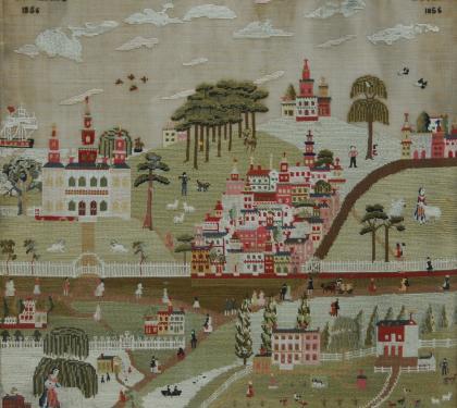 A Schwenkfelder Woolwork Townscape (SOLD)