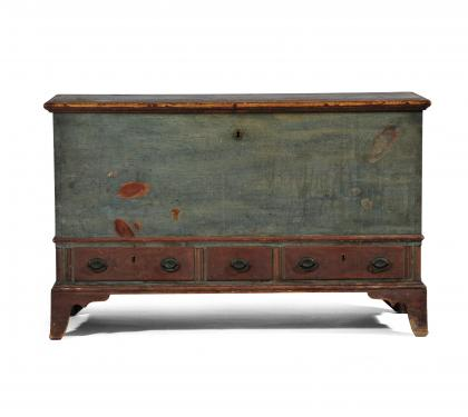 Pine Paint Decorated Dower Chest