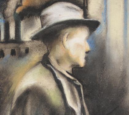 "Pastel on Paper Entitled ""Unemployed"" by Grace Gemberling Keast (SOLD)"