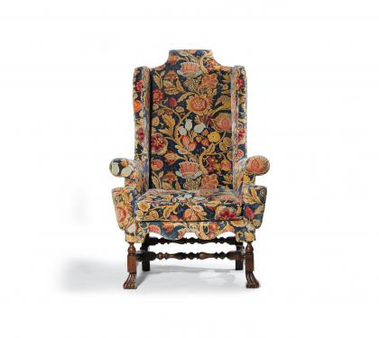 Finely Upholstered Walnut William & Mary Wing Chair (SOLD)