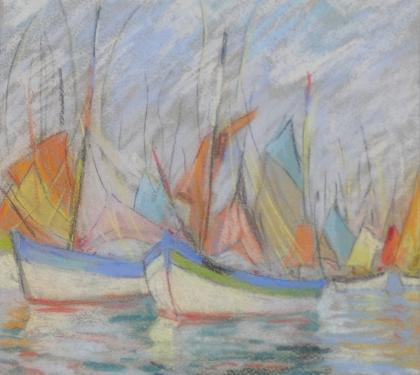 "Pastel on Paper Entitled ""Barques of Brittany"" by Elizabeth Fisher Washington"