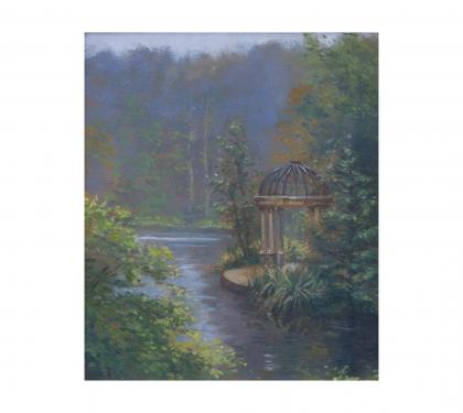 "Oil on Canvas Entitled ""Early Morning at the Gazebo - Longwood"" by Michael Stuart Traines"
