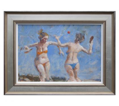 "Acrylic on Panel Entitled ""Paddleball for Grigory Gluckmann"" by John Suplee"