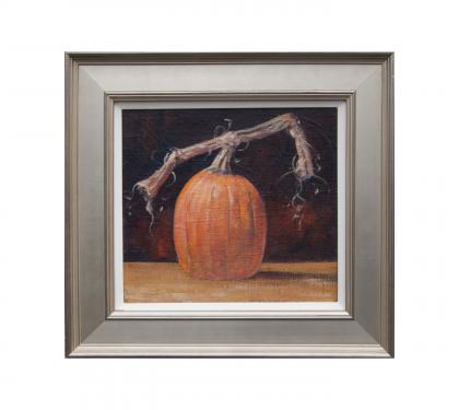 "Acrylic on Linen Panel Entitled ""Patio Pumpkin"" by John Suplee"