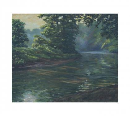 "Oil on Canvas Entitled ""Morning on the Brandywine"" by Richard Chalfant"