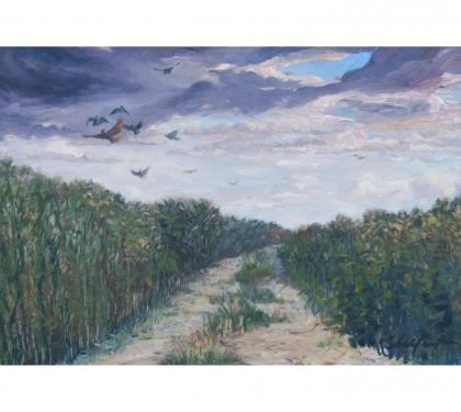"Oil on Canvas Entitled ""Hawk Hunt"" by Richard Chalfant"