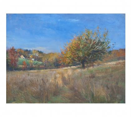 "Oil on Panel Entitled ""Biblical Tree at Kirkwood Preserve"" by Michael Stuart Traines"