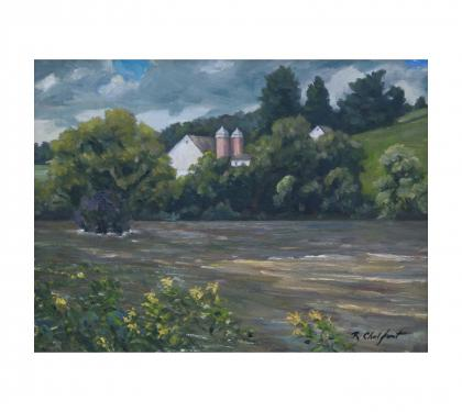"Oil on Panel Entitled ""Flood Stage, Valley Creek, East Bradford"" by Richard Chalfant"