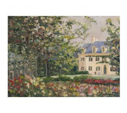 """Oil on Panel Entitled """"Gardens of Eleutherian Mills"""" by Richard Chalfant"""