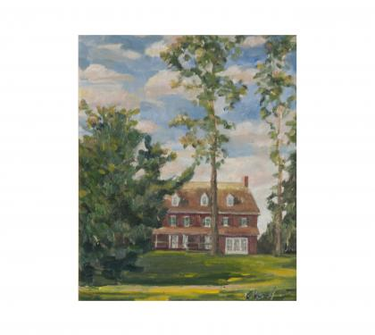 "Oil on Panel Entitled ""Peirce Park at Longwood"" by Richard Chalfant"
