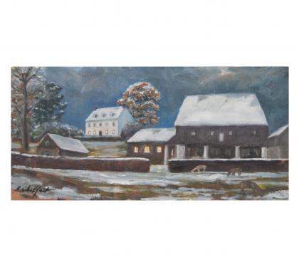 "Oil on Panel Entitled ""Early Snow"" by Richard Chalfant"