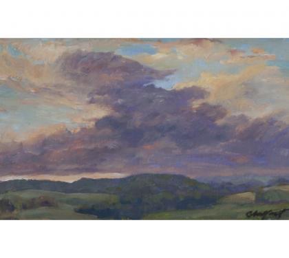 "Oil on Panel Entitled ""Sunset Meditation"" by Richard Chalfant"