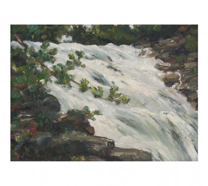 "Oil on Panel Entitled ""Study on Falling Water"" by Richard Chalfant"
