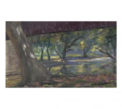"Oil on Panel Entitled ""Under the Bridge"" by Richard Chalfant"