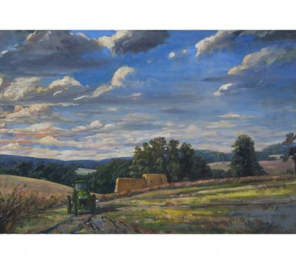 "Oil on Canvas Entitled ""Green Tractor"" by Richard Chalfant"