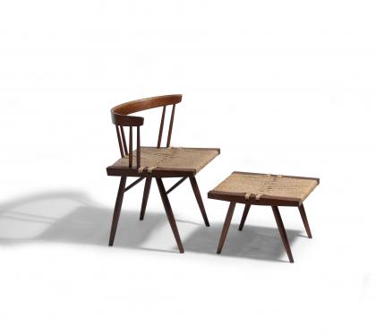 Nakashima Walnut Grass-Seated Side Chair With Stool