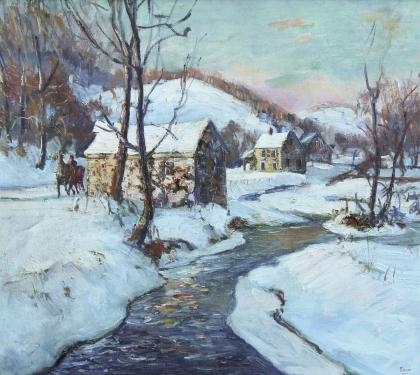"Oil on Canvas Winter Landscape Entitled ""Mill"""