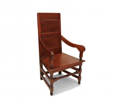 Rare Walnut William and Mary Wainscot Armchair
