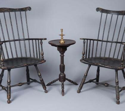 Very Rare Near Pair of Comb-Back Windsor Armchairs