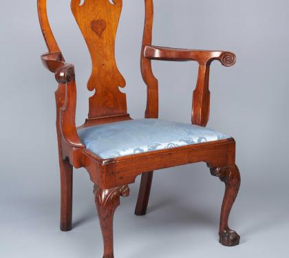 Walnut Chippendale Arm Chair