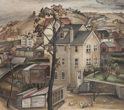 Oil on Canvas Manayunk Scene by Grace Gemberling Keast