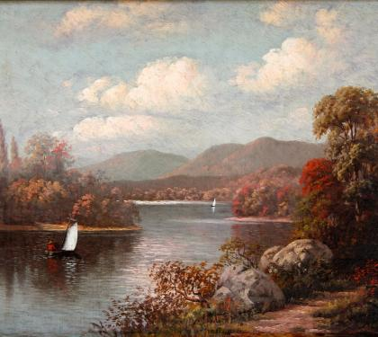 Autumn View along River by George Cope