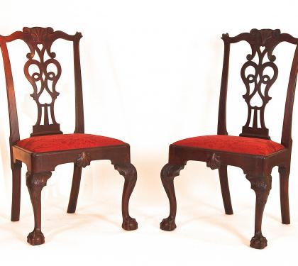 Rare Pair of Mahogany Chippendale Side Chairs