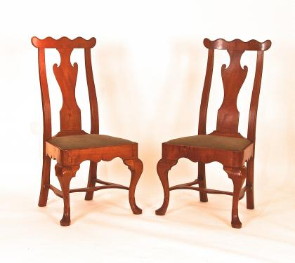 Rare Pair of Maple Queen Anne Side Chairs