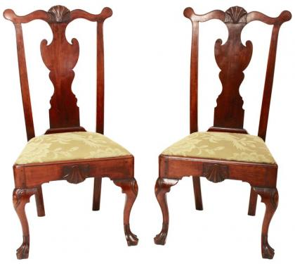 Pair of Mahogany Queen Anne Side Chairs