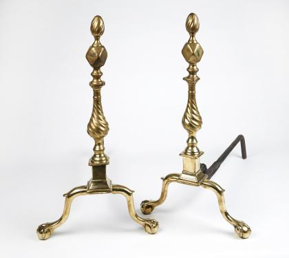 A Very Rare Pair of Brass Andirons