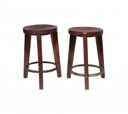 Pair of Teak Stools by Pierre Jeanneret