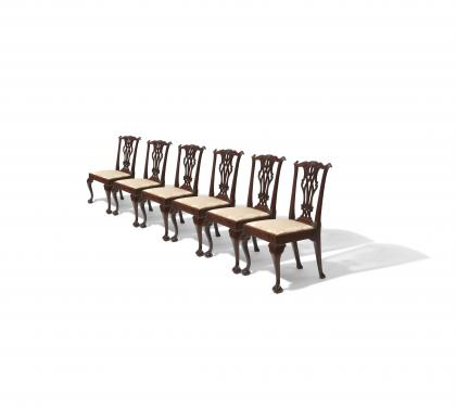 Set of 6 Mahogany Chippendale Side Chairs