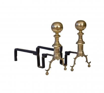 Brass Andirons with Ball Finials