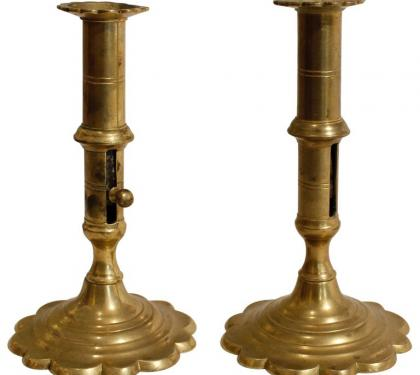 Pair of English Queen Anne Brass Candlesticks
