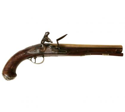 English Silver Mounted Brass Barrel Pistol
