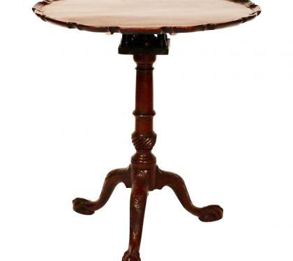 18th Century Mahogany English Piecrust Tea Table