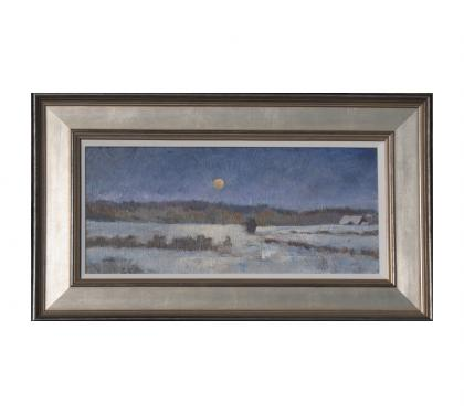 "Acyrlic on Panel Entitled"" Little Winter Moonrise"" by John Suplee"